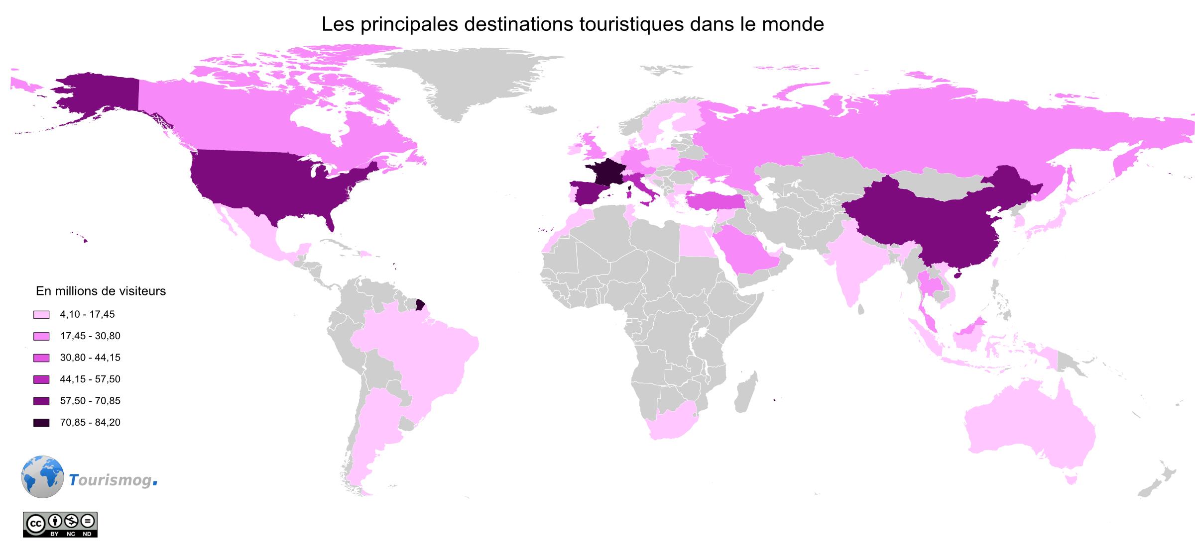 Carte des pays les plus visités dans le monde