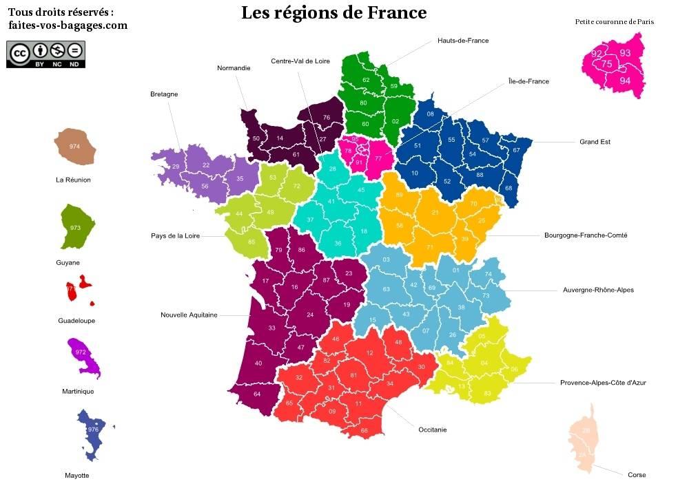 Carte des régions de France métropolitaine et Outre-Mer