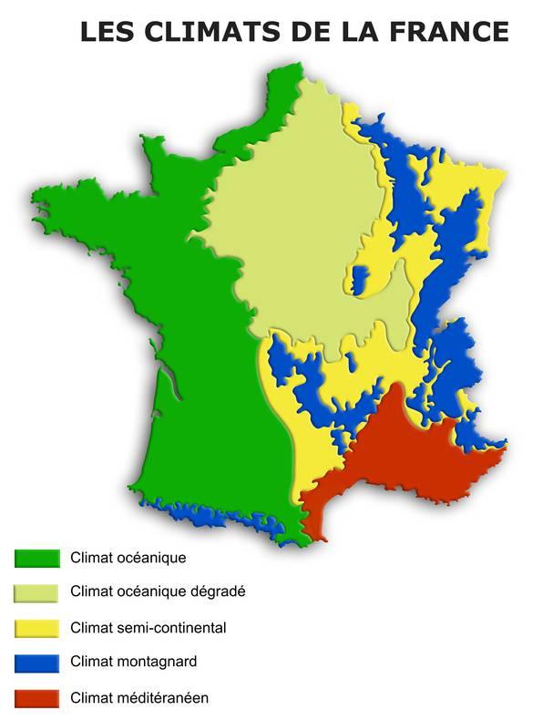 Carte du climat en France