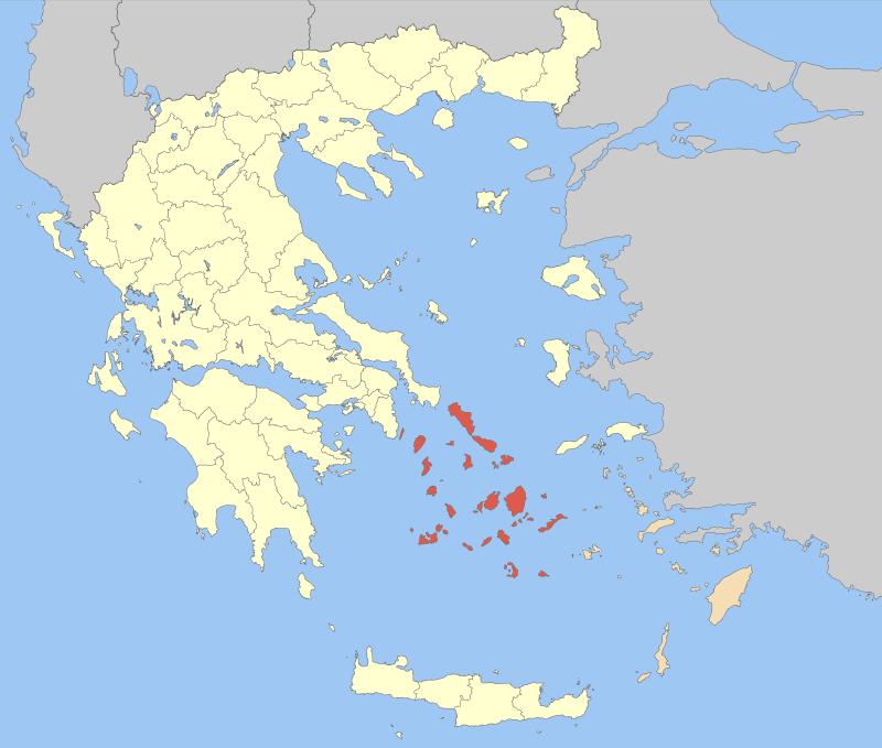 Carte de l'emplacement des Cyclades