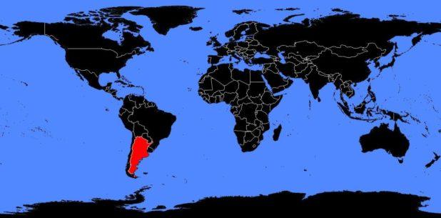 L'Argentine sur une carte du monde