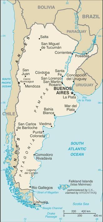 Carte administrative de l'Argentine