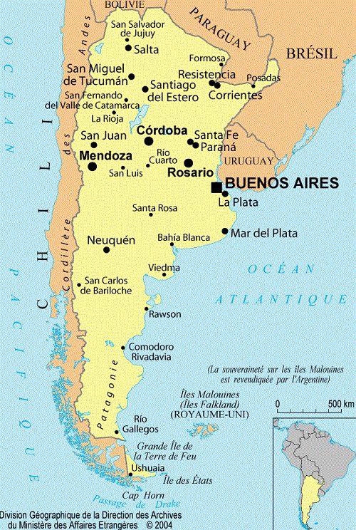 carte de l argentine Carte de l'Argentine   Images et cartes de l'Argentine en Amérique