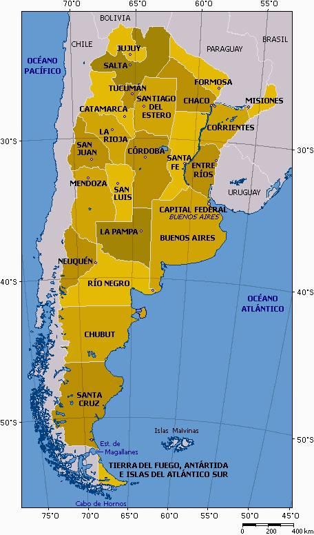Carte de l'Argentine - Les provinces du pays