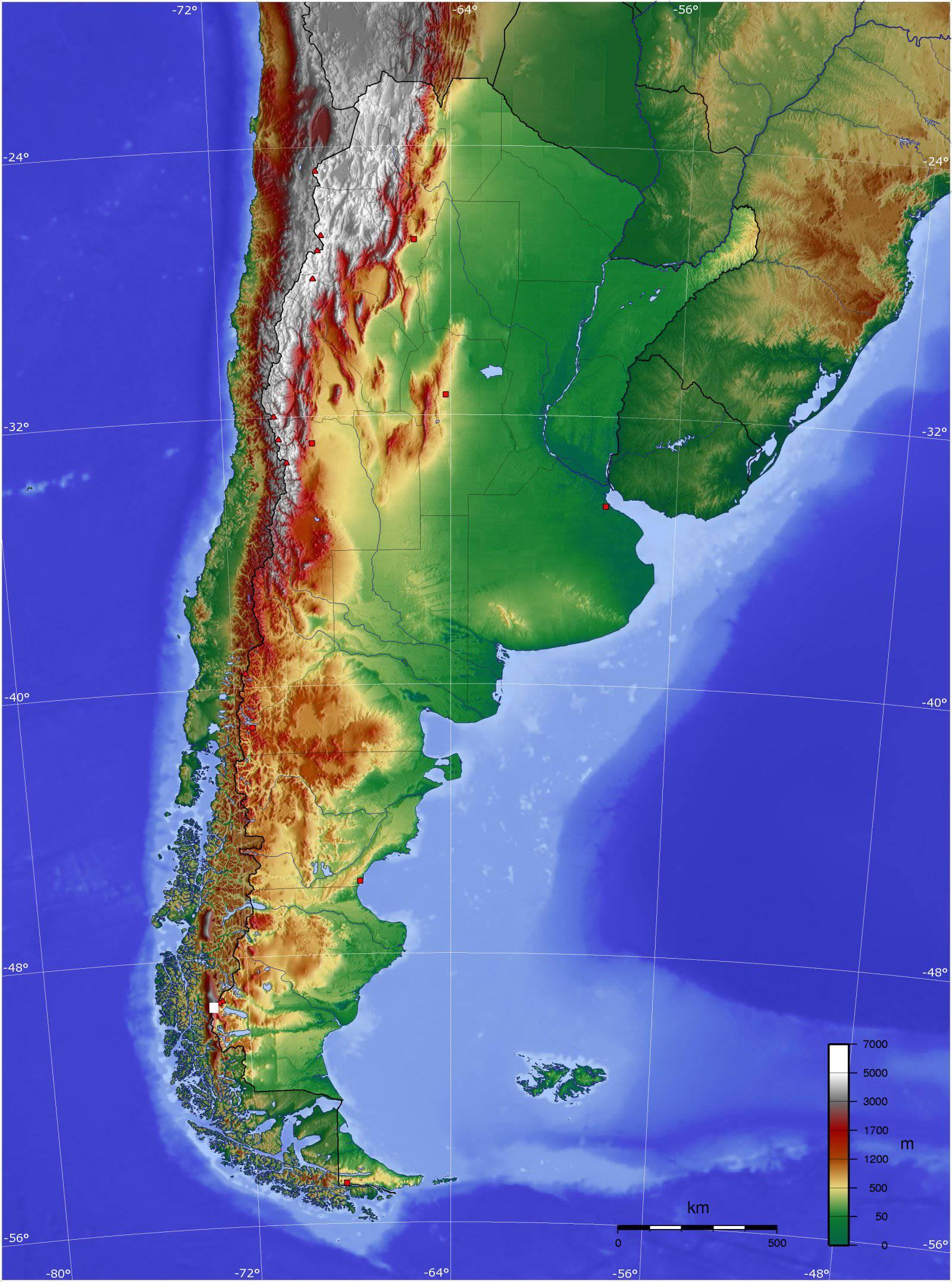 Carte du relief de l'Argentine