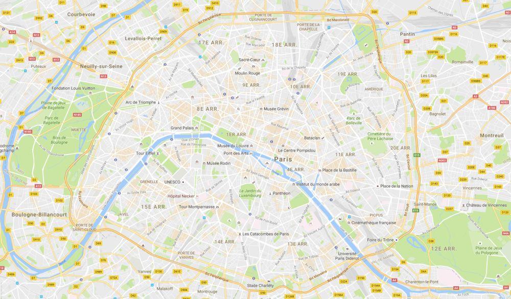 Carte pour le tourisme - Exemple : Carte de Paris