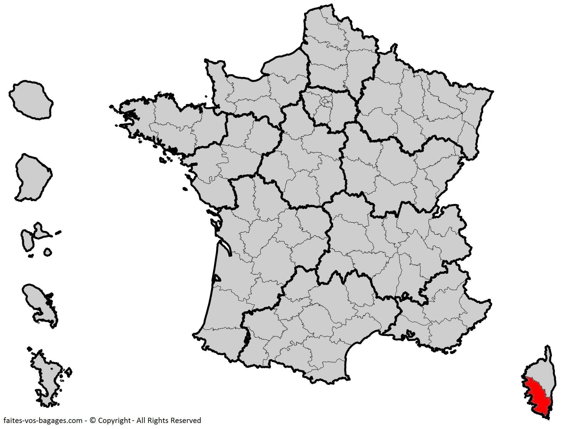 Où se trouve la Corse-du-Sud ? Département 2A
