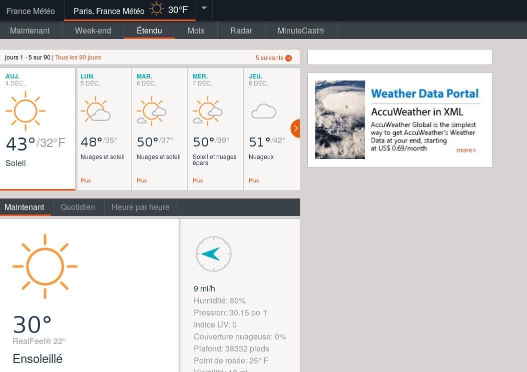 Accuweather - Site de prévisions météo