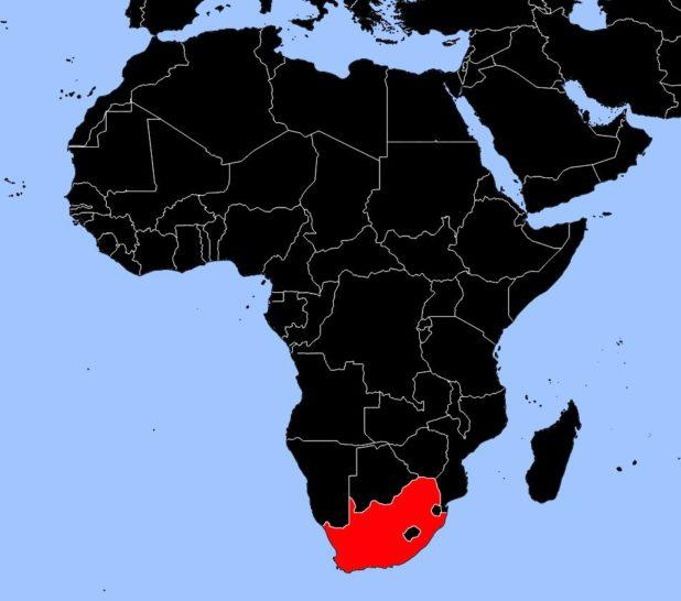 Afrique du Sud sur une carte d'Afrique