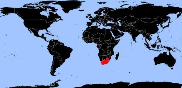 Afrique du Sud sur une carte du monde