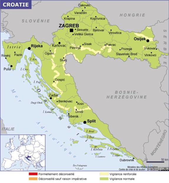 Autre carte de la Croatie