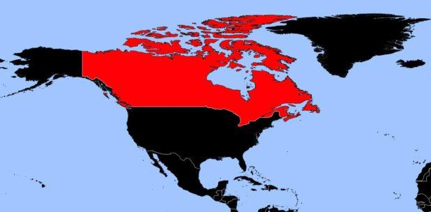 Canada sur une carte d'Amérique du nord