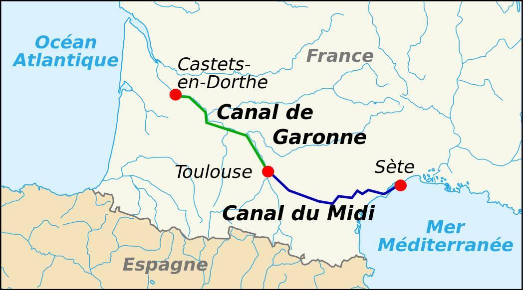 Emplacement du canal du Midi sur une carte