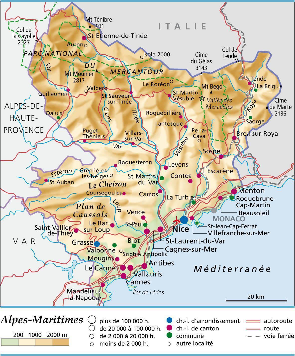 Carte administrative des Alpes-Maritime