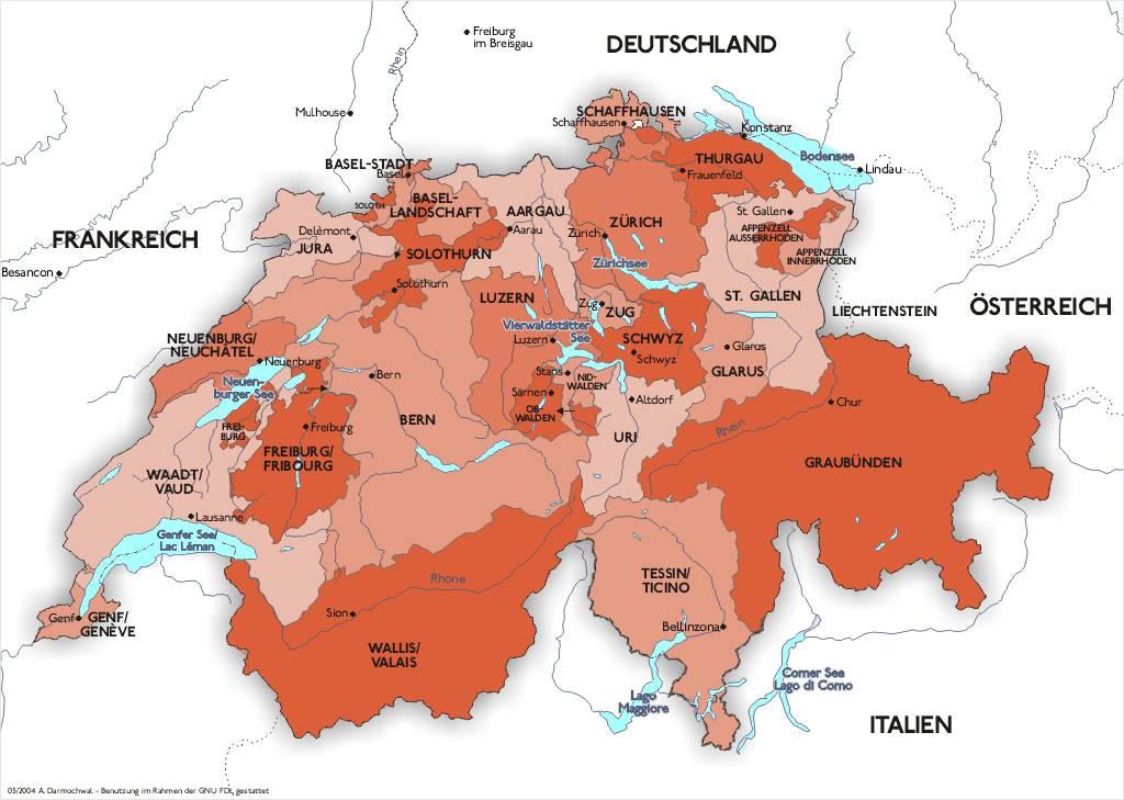 Carte administrative de la Suisse