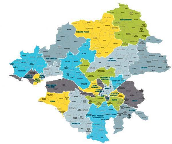Carte des cantons de Loire-Atlantique