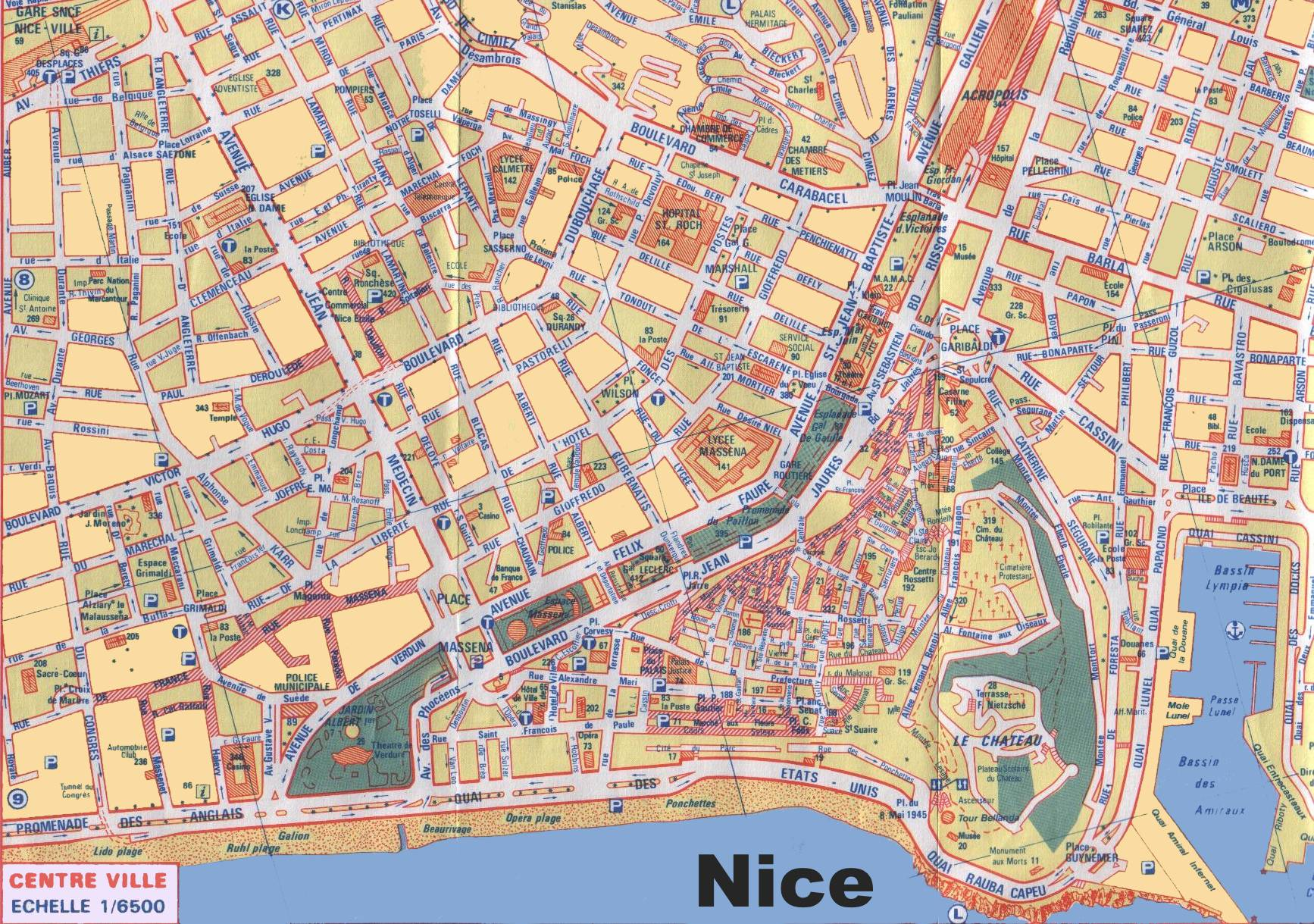 Carte du centre ville de Nice