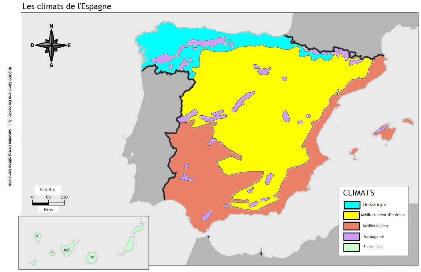 Carte du climat en Espagne
