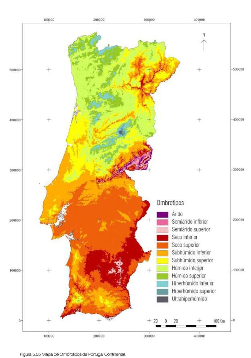 Carte du climat au Portugal