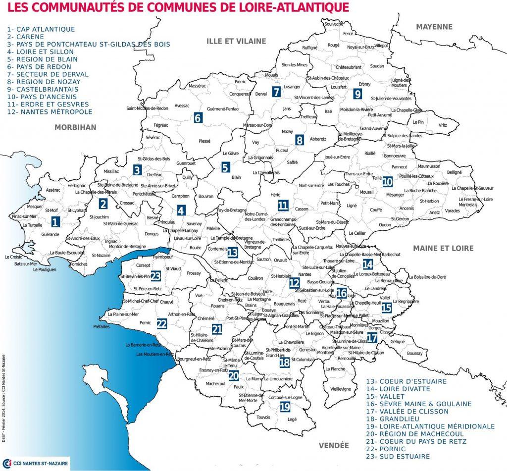 Carte de la communauté de commune de Loire-Atlantique