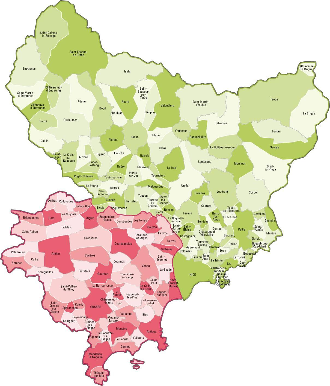 Carte du découpage des communes dans les Alpes-Maritimes