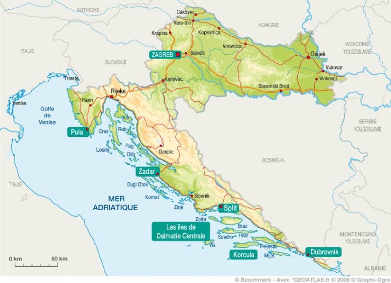 Carte Croatie Lieux Dinteret.Carte De La Croatie Cartes Et Informations Sur La Croatie