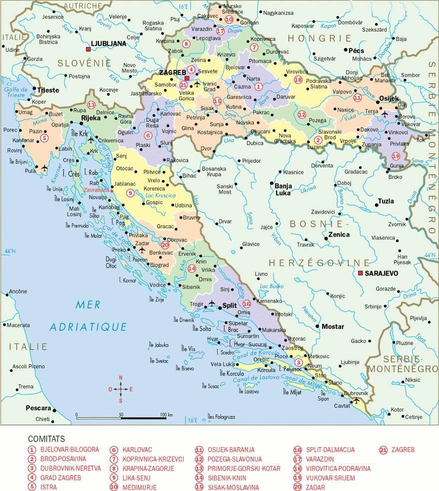 Carte de Croatie - Régions comitats