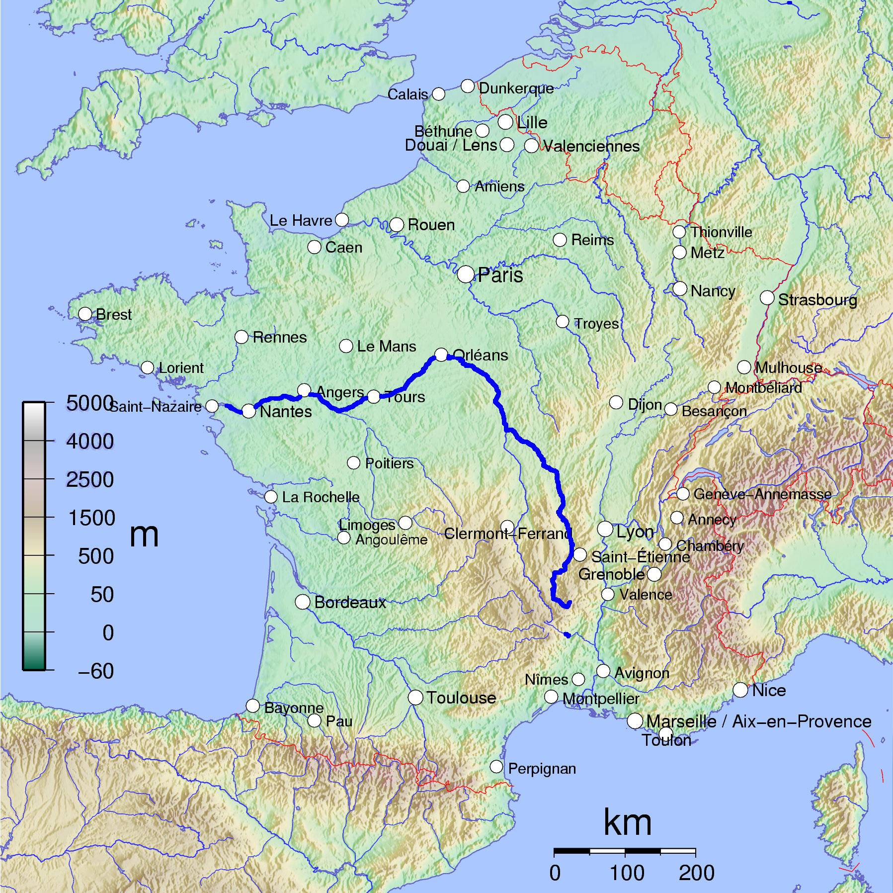 Carte de la Loire (fleuve)