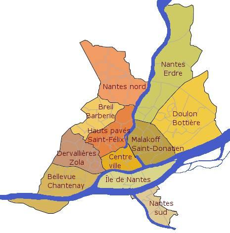 Carte de Nantes - Les quartiers