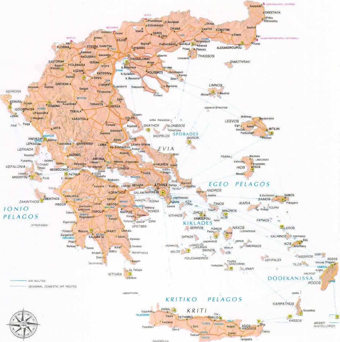 Carte des aéroports en Grèce