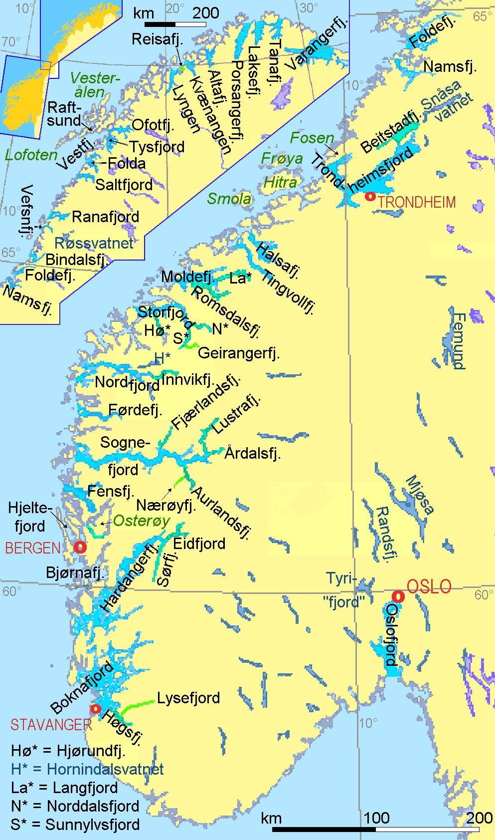 Carte des fjords de Norvège
