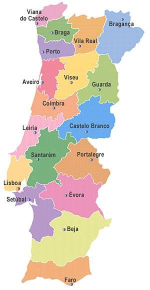 Carte des régions du Portugal
