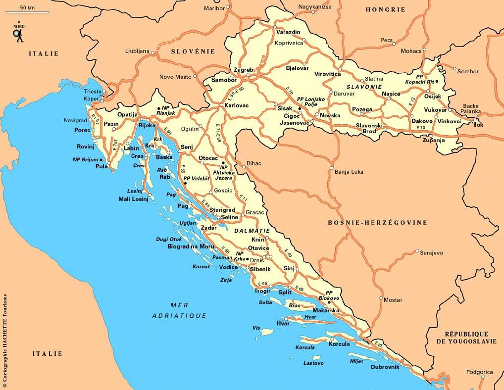 Carte des routes de Croatie