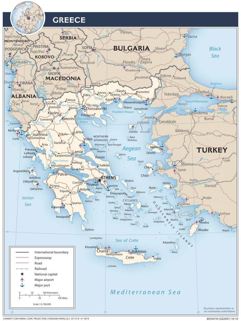 Carte des transports en Grèce