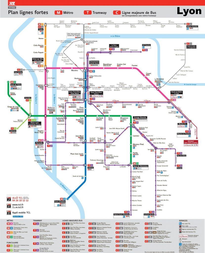 Carte des transports à Lyon