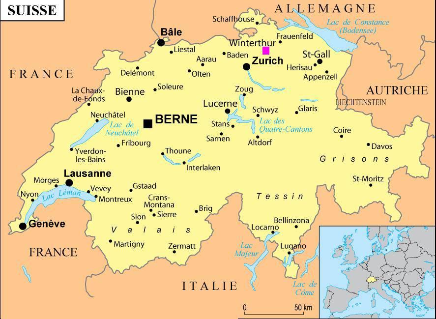 Carte des villes Suisse