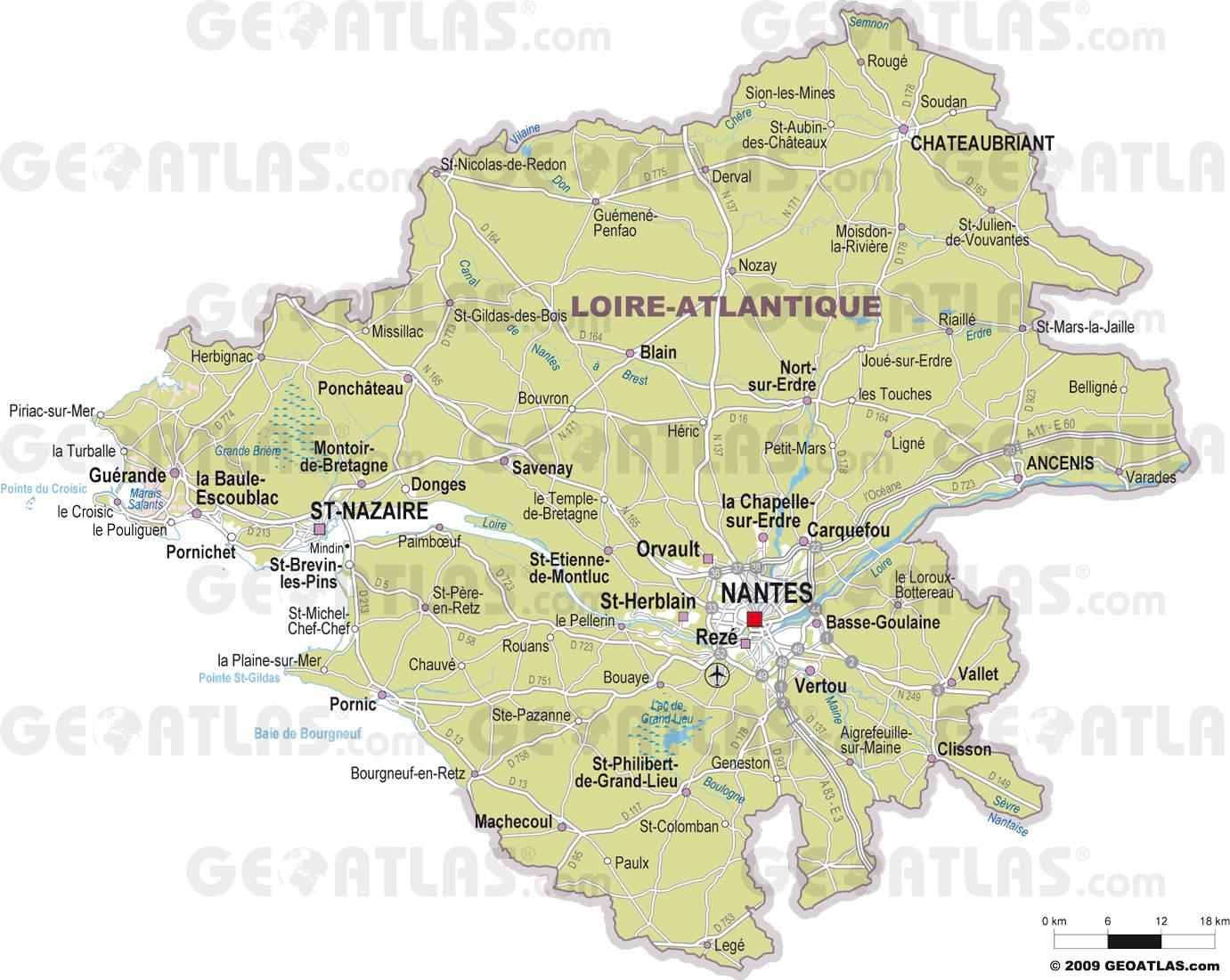 Carte détaillée de la Loire-Atlantique