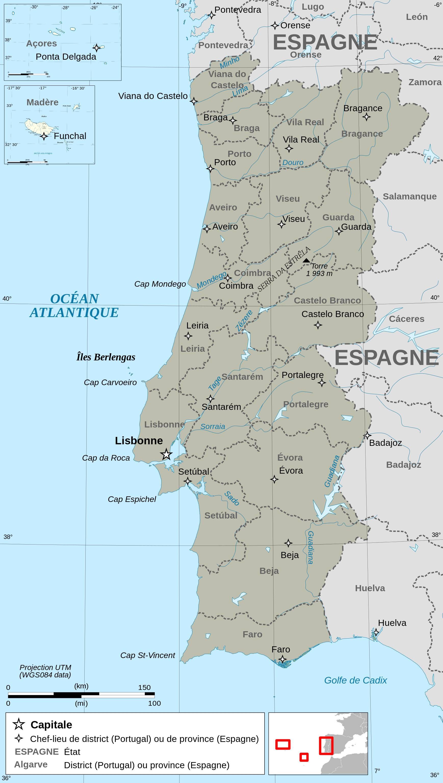 Carte du Portugal - Carte administrative