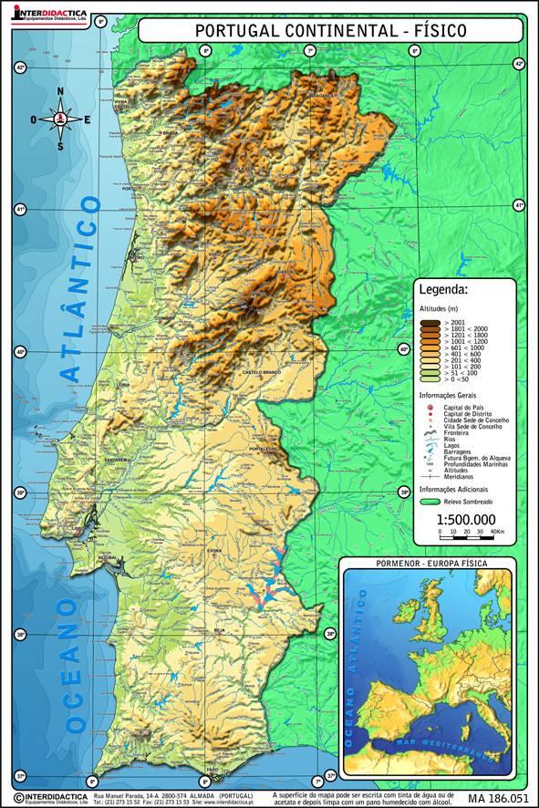 Carte du Portugal - Relief