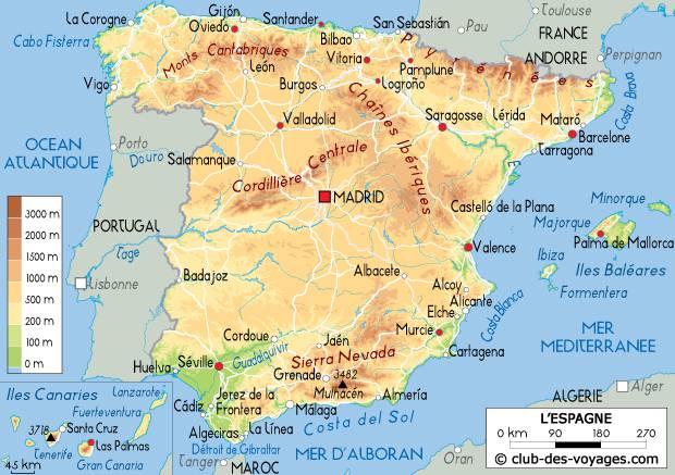 Carte de l'Espagne   Découvrrir l'Espagne sous forme de carte