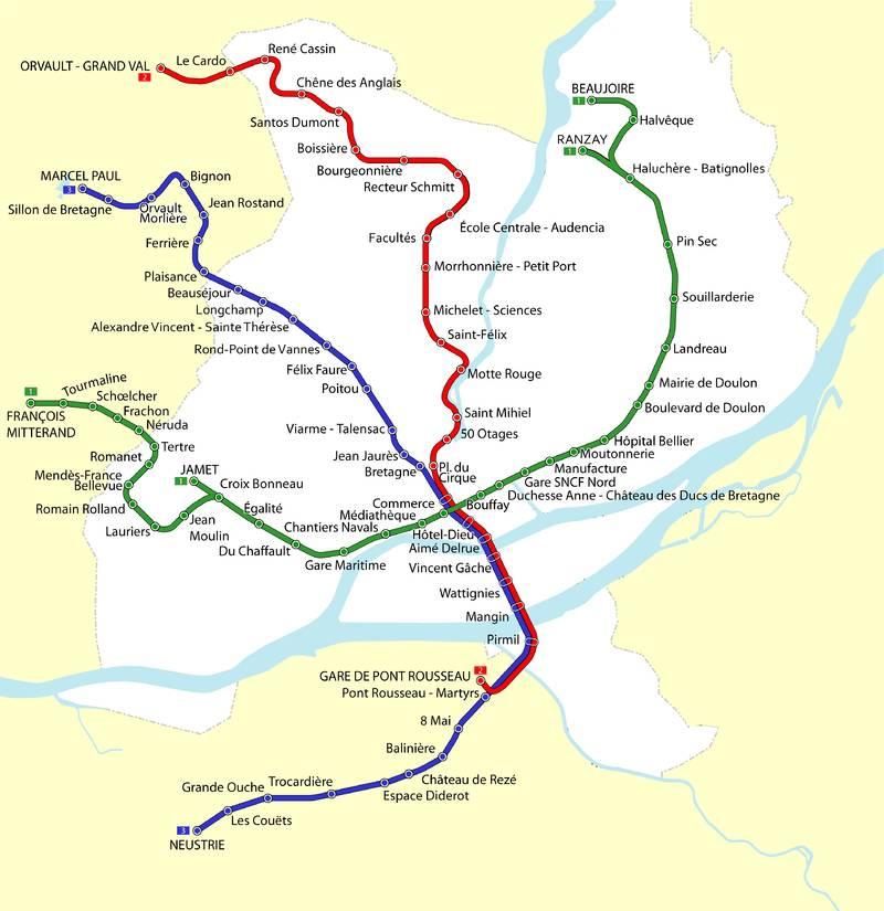 Carte du tramway de Nantes