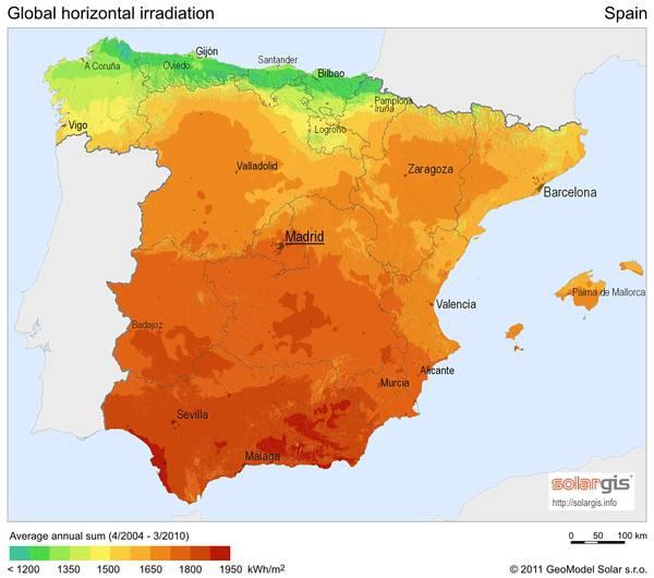 Carte ensoleillement de l'Espagne