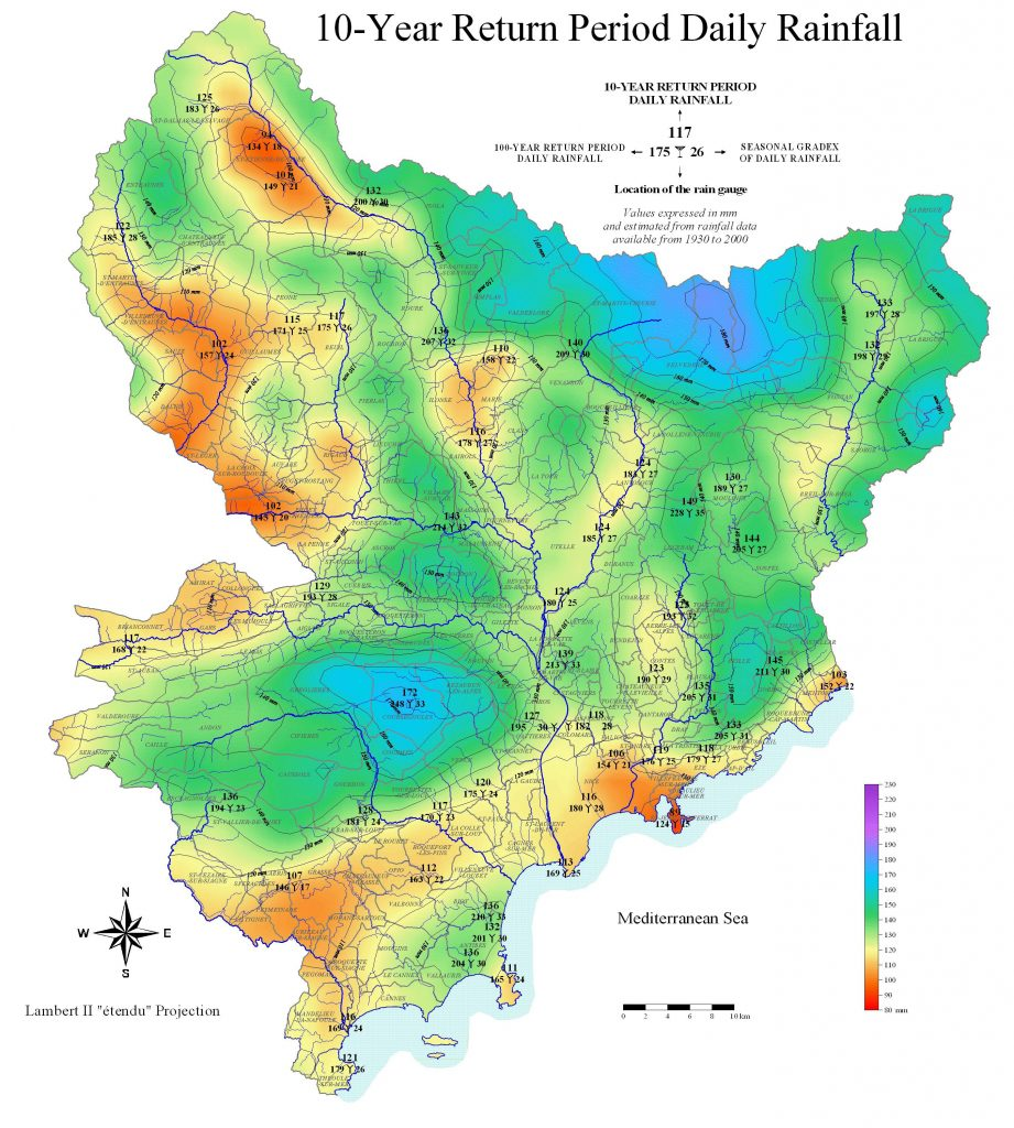 Carte des des pluies (précipitations) dans les Alpes-Maritimes