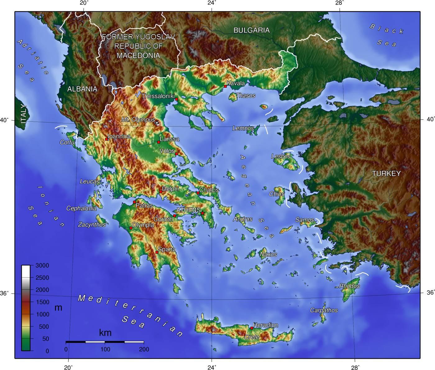 Carte du relief de la Grèce