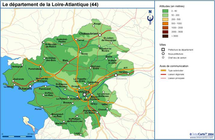 Carte du relief de la Loire-Atlantique