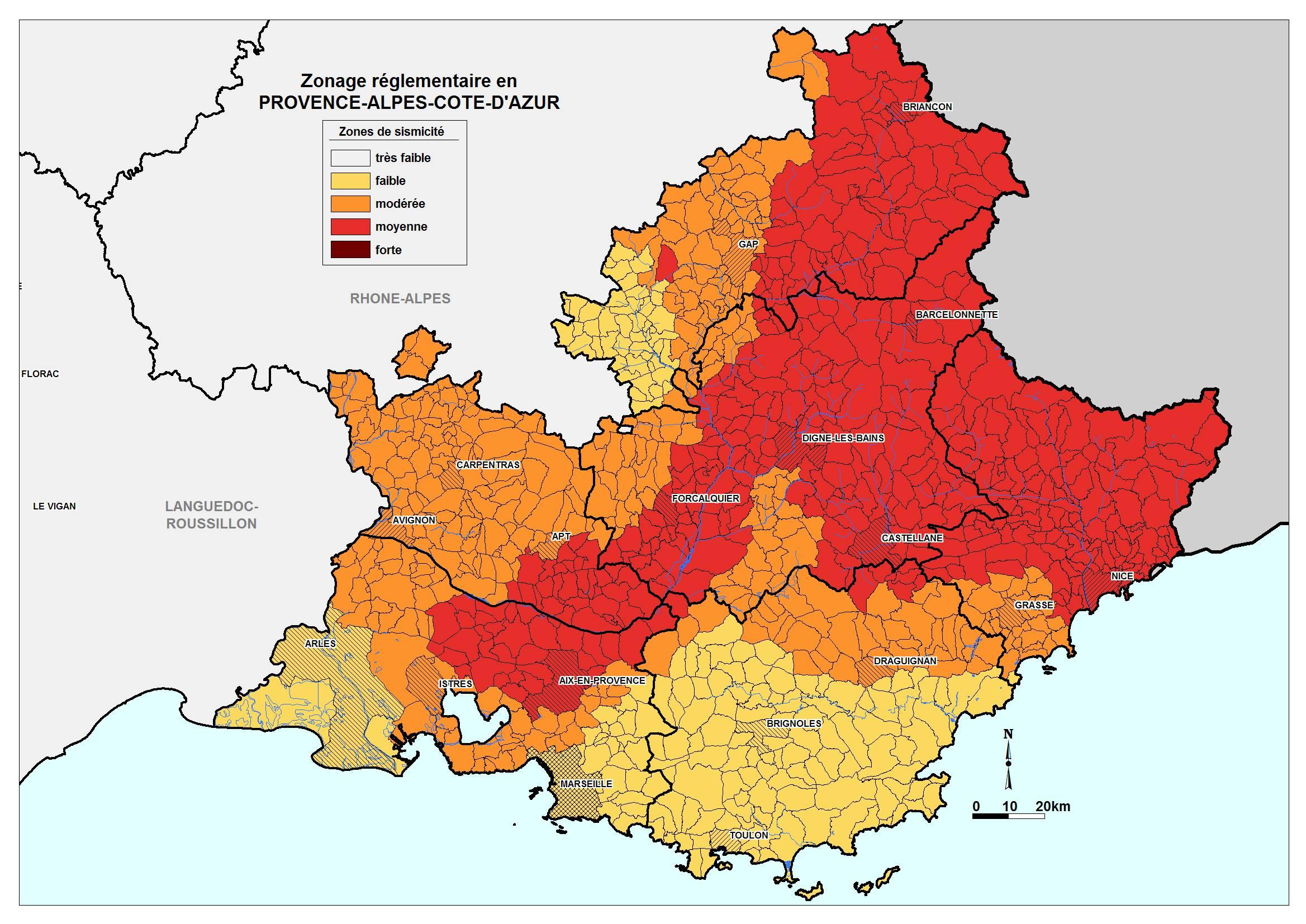 Carte des risques sismiques dans les Alpes-Maritimes