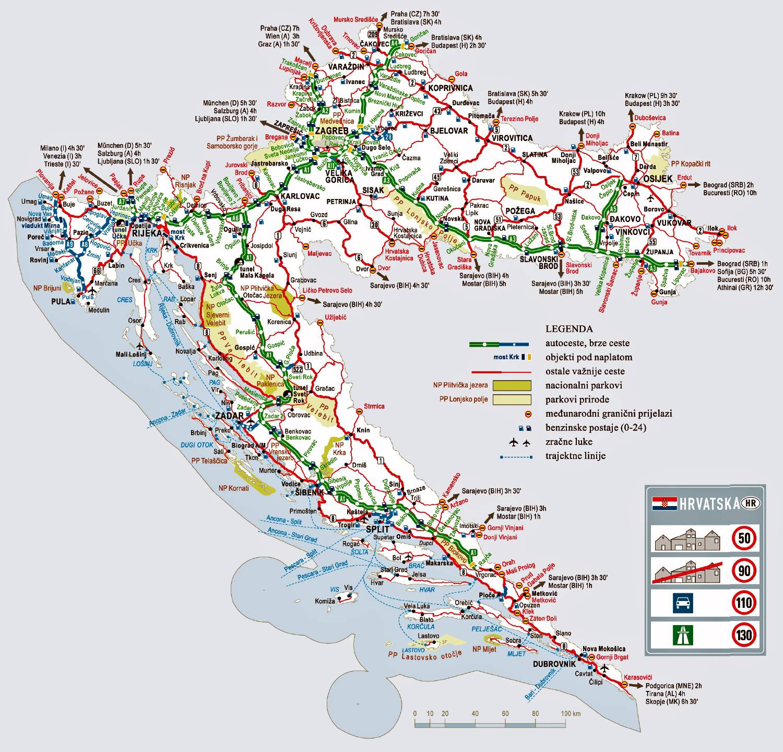 Carte de la Croatie   Cartes et informations sur la Croatie