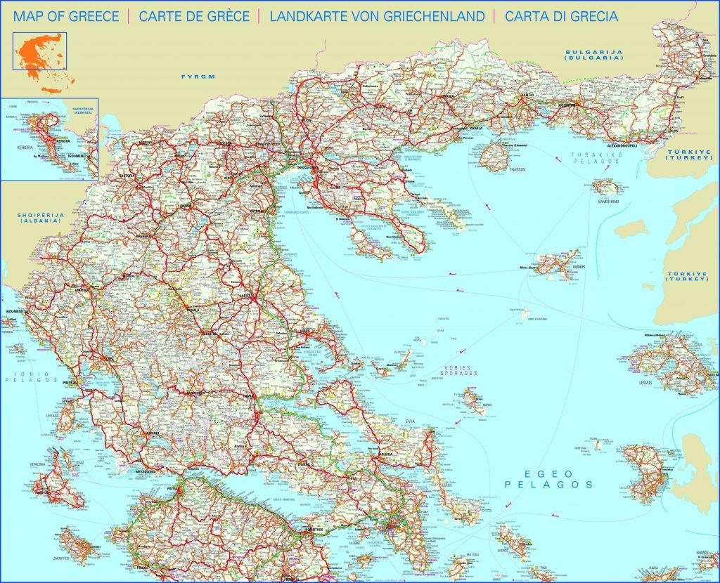 Carte routière de la Grèce