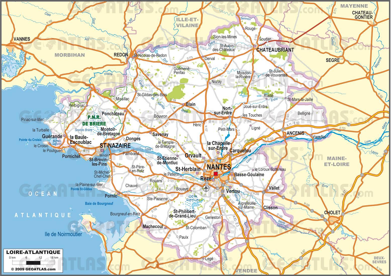 Carte Loire Atlantique Villes