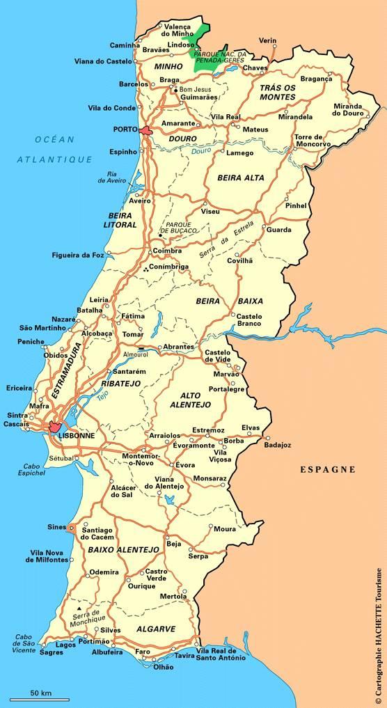 Carte routière du Portugal